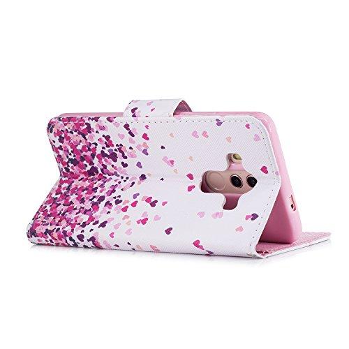Leder Handyhülle für Huawei Mate 10 Pro, Schutzhülle für Huawei Mate 10 Pro, Leder Tasche Flip Case für Huawei Mate 10 Pro, ZCRO Hülle Lederhülle mit Muster Bunt Standfunktion Kartenfach Geldbörse Wal Liebesherzen