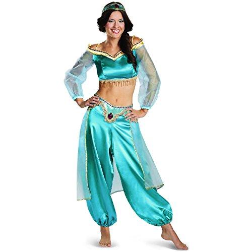 Disguise Women's Disney Aladdin Jasmine Sassy Prestige Costume, Green, Small 4-6 ()