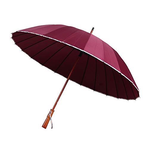 乐陶仕 Umbrellas Long Handle Umbrella Solid Color 24 Bone Men's Business Straight Umbrella New Lattice Edging Business Windproof Umbrella (Color : Red, Size : 60cm24k)