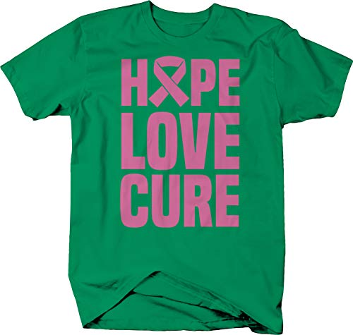 Hope Love Cure Pink Ribbon caps Breast Cancer Awareness Tshirt 2XL