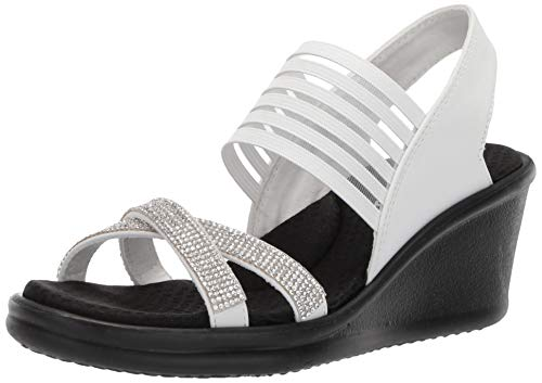 Skechers Women's Rumblers-Modern Maze Wedge Sandal White 10 M US