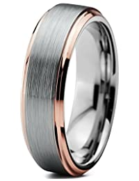 Tungsten Wedding Band Ring 4mm for Men Women Comfort Fit 18K Rose Gold Plated Beveled Edge Brushed Polished Lifetime Guarantee
