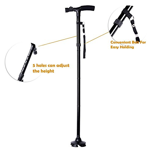 Ohuhu Folding Walking Cane with LED Light, Adjustable Walking Stick with Carrying Bag for Fathers Mothers Christmas Gifts by Ohuhu (Image #6)