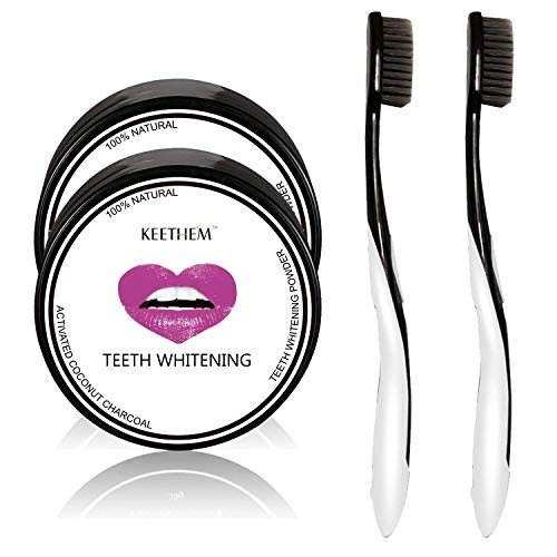 Teeth Whitening [2 Pack], Keethem Activated Coconut Charcoal Teeth Whitener Powder Toothpaste(2.1oz) with 2 Charcoal Toothbrushes (Professional-grade Home Teeth Whitening Kit)