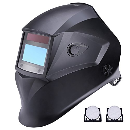Welding Helmet, Tacklife PAH01D Solar Power Auto Darkening Welding Helmet with Adjustable Shade Range DIN 9-13/Grind DIN 4 and 4 Premium Sensors, Highest Optical Class (1/1/1/1), High Impact Polyamide