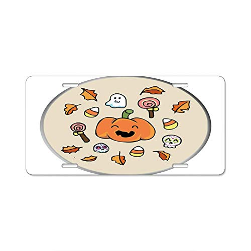 SOIREE Aluminum Alloy License Plate - Halloween Doodles Custom Auto Car -