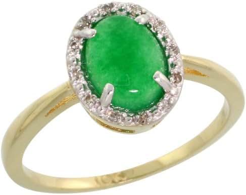 10k Gold Oval Stone Ring w/ 0.04 Carat Brilliant Cut Diamonds & 0.92 Carat Oval Cut (8x6mm) Jade Stone, 7/16 in. (11mm) wide