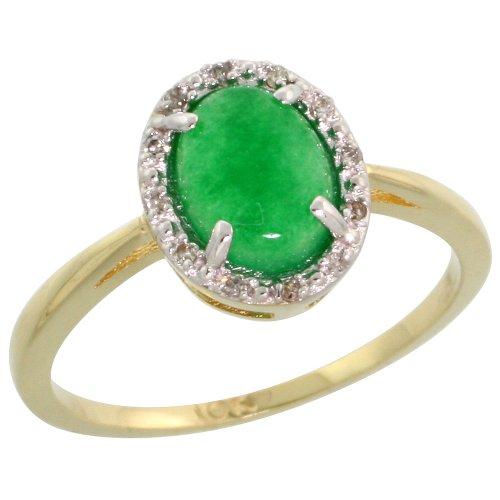 - 10k Gold Oval Stone Ring w/ 0.04 Carat Brilliant Cut Diamonds & 0.92 Carat Oval Cut (8x6mm) Jade Stone, 7/16 in. (11mm) wide, Size 6