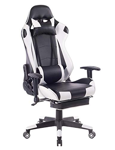 ZOPPO Back Massage Gaming Chair with Footrest,Reclining PC Computer Video Game Racing Gamer Chair,High Back Executive Ergonomic Office Desk Chair with Headrest Lumbar Support Cushion (White)