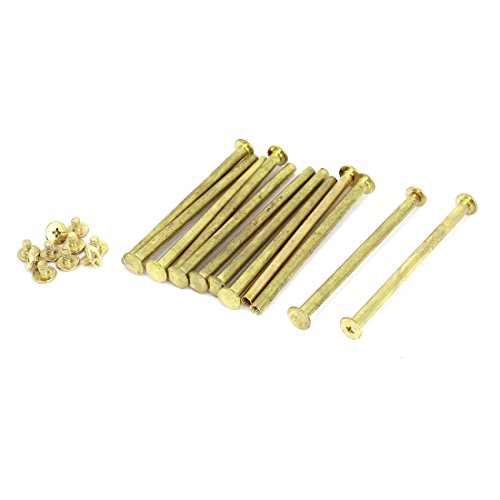 (Scrapbook Leather 5x80mm Brass Plated Binding Chicago Screw Post 12pcs)