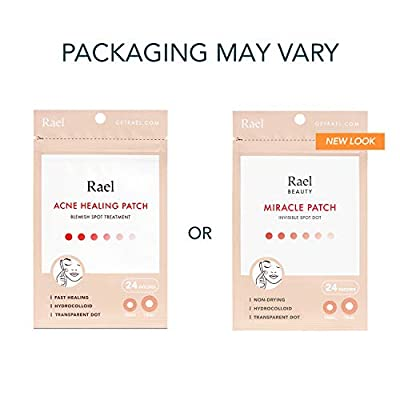 Rael Acne Pimple Healing Patch - Absorbing Cover, Invisible, Blemish Spot, Hydrocolloid, Skin Treatment, Facial Stickers, Two Sizes, Blends in with skin (96 Patches, 4Pack)