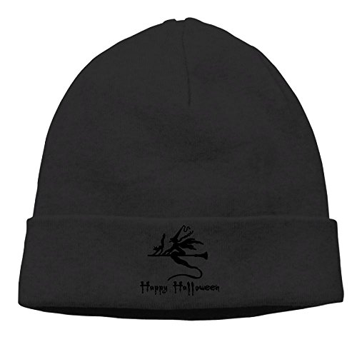Hip-Hop Cap Happy Halloween Witch Fly With Cat Unisex Pattern Beanie Knit Hats. (57 Days Until Halloween)