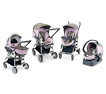 Chicco 4079123220000 Trio-Living - Carrito convertible (4 posiciones), color rosa y gris: Amazon.es: Bebé