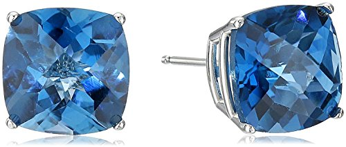 14k White Gold Blue Topaz Earrings - 14k White Gold Cushion-Cut Checkerboard London Blue Topaz Stud Earrings (8mm)