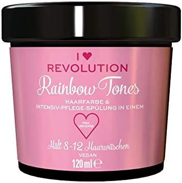 I Heart Revolution Rainbow Tones Pink Universe - Tinte para el cabello semipermanente y acondicionador en uno, lavable con 8-12 lavados de pelo, vegano, reutilizable, 120 ml