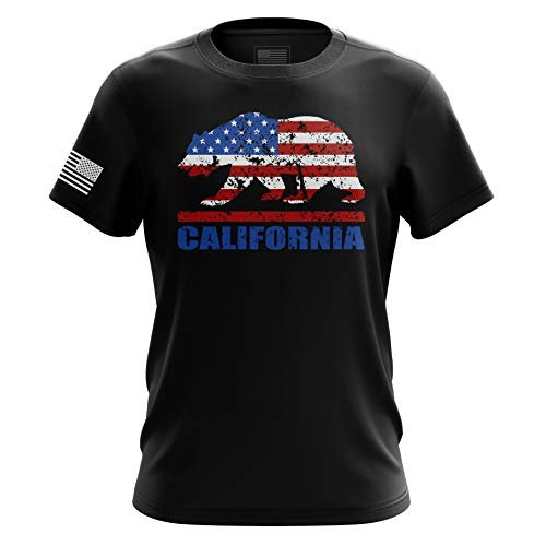 The Fighting Forces California Bear American Flag T Shirt - XL Black ()