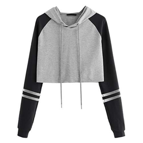 COM1950s Pullover Women Tops Long Sleeve Splice Pullover Hooded Sweatshirt Short Tops Blouse Sweater (Wwe Hooded Sweatshirt)