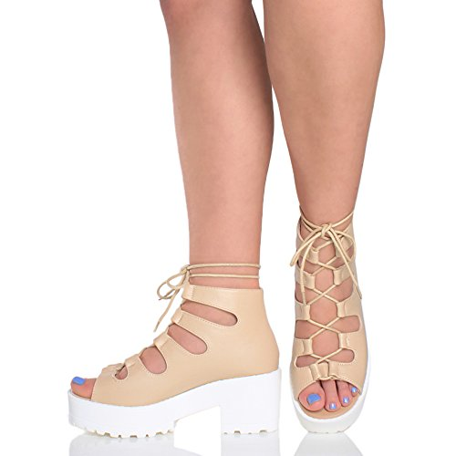 Ankle Out Sandals Womens Cut peep Ajvani Platform Heel up Nude Matte Size Boots Toe mid Lace Block Ladies Ghillie 6xCOzwxqS