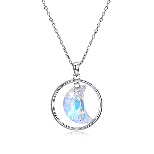 (KNKNKN LEKANI 925 Sterling Silver Aurore Boreale Color Moon Pendant Necklace with 18 Inch Silver Chain Created with Swarovski Crystals)