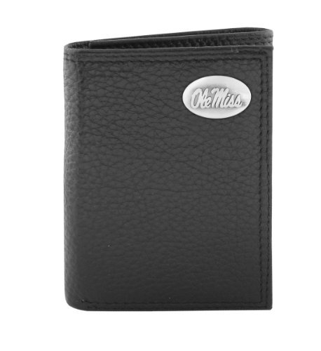 NCAA Mississippi Old Miss Rebels Zep-Pro Pebble Grain Leather Roper Concho Wallet, Black