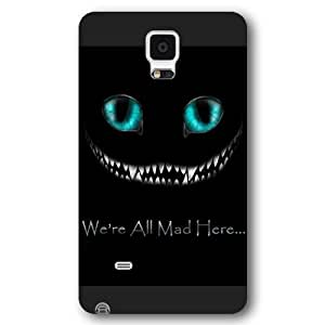 UniqueBox Customized Black Frosted Samsung Galaxy Note 4 Case, Alice in Wonderland We're all mad here Cheshire Cat Smile Face Samsung Note 4 case