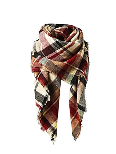 Plaid Scarf - American Trends Women's Fall Winter Scarf, Classic Tassel Plaid, Warm Soft Chunky Blanket Wrap Shawl Scarves, Large, Pink/Beige/Red/Black/Brown