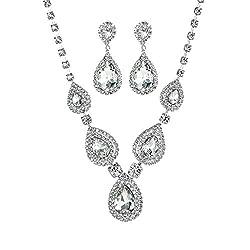 Women's Crystal Rhinestone Teardrop Necklace Earrings Set