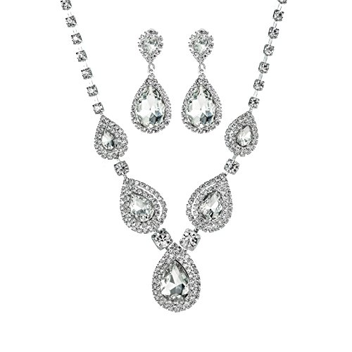 Miraculous Garden Teardrop Crystal Rhinestone Necklace Earrings Jewelry Sets for Wedding - Set Teardrop Crystal Jewelry