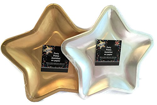 - 2 Pack Star Shaped Paper Plates 12 Silver 12 Gold