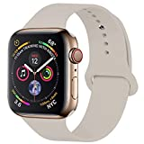 YANCH Compatible with for Apple Watch Band 38mm 40mm, Soft Silicone Sport Band Replacement Wrist Strap Compatible with for iWatch Nike+,Sport,Edition,S/M,Stone