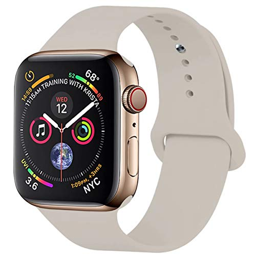 YANCH Compatible with for Apple Watch Band 38mm 40mm, Soft Silicone Sport Band Replacement Wrist Strap Compatible with for iWatch Nike+,Sport,Edition, M/L, Stone