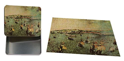 Port Of Naples (Bruegel) Metal Tin Trinket Box (4
