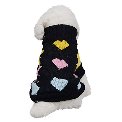 Futemo Christmas Pet Turtleneck Sweater Fashion Love Heart Warm Coats Supplies Clothes Outfits for Small Dog Cat Puppy Winter Apparels (XXL, Black)