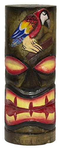 - World Shells 6 Inch Tall Hand Carved, Hand Painted Tiki Totem Pole - Parrot