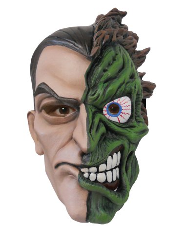 Batman The Dark Knight Rises Two Face Overhead Latex Mask, Multi, One Size (Harvey Dent Two Face Halloween Costume)