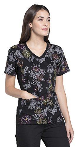 - Cherokee Fashion Prints Women's V-Neck Soft Knit Side Panel Floral Print Scrub Top Small Print