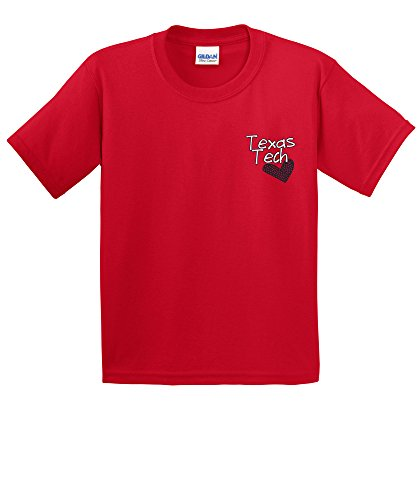 Heart Kids T-shirt - NCAA Texas Tech Red Raiders Girls Patterned Heart Short Sleeve Cotton T-Shirt, Youth Large,Red
