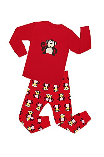 Monkey Sleep Sets - SMHONG Cartoon Animal Monkey Kids Pajamas Sets Long Sleeve Red 100% Cotton Sleepwear Size 2-8 Years (6-7Years)