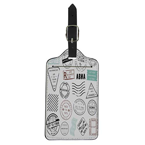 Pinbeam Luggage Tag Vintage Post Stamps Collection for Mailing Letters Special Suitcase Baggage Label