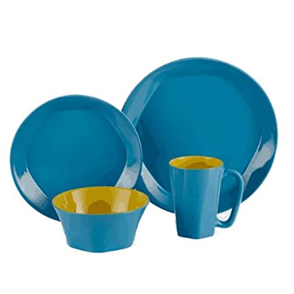 ColorUs China 112030 Glycon Hexagon in Round Stoneware 16-Piece Dinnerware Set Service for 4 Sunflower
