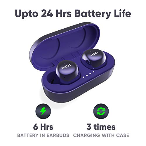 Mivi Duopods M40 True Wireless Bluetooth Earphones with Studio Sound, Powerful Bass, 24 Hours of Battery and Earbuds with Touch Control- Blue