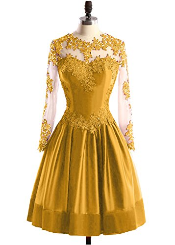 Appliques Beaded Dresses Gold Homecoming Dress Sleeves Prom DYS Lace Short Women's Y1ZxPB
