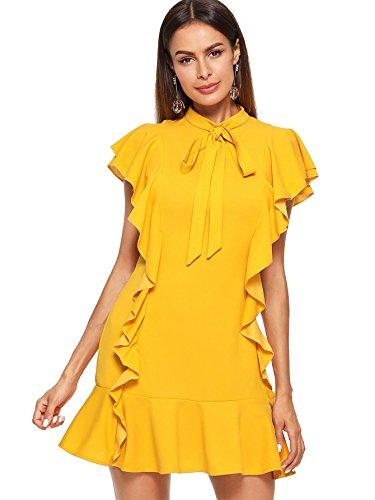 Floerns Women's Tie Neck Ruffle Hem Short Cocktail Party Dress Yellow S ()