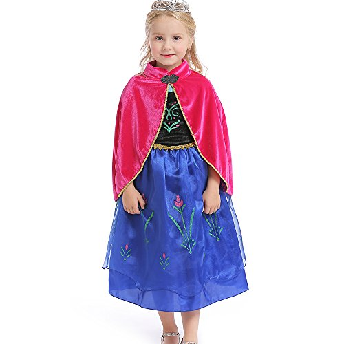 (Abroda Girls Fancy Dress Party Outfit Princess Halloween Costume Cosplay Dress with Cloak (8-9 Years, Red)