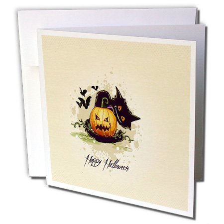3dRose Halloween Pumpkin With Black Cat - Greeting Cards, 6 x 6 inches, set of 6 (gc_65461_1) (Halloween Pumpkin Note Cards)