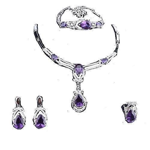 Purple Wedding Bridal Bracelets - Exquisite Zircon Crystal Necklace Earring Bracelet Ring Bridal Jewelry Sets for Women Gift Party Wedding Prom (Purple)
