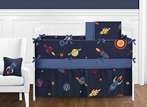 Sweet Jojo Designs Space Galaxy Rocket Ship, Planet, Galactic 9 Piece Baby Boy or Girl Bedding Crib Set