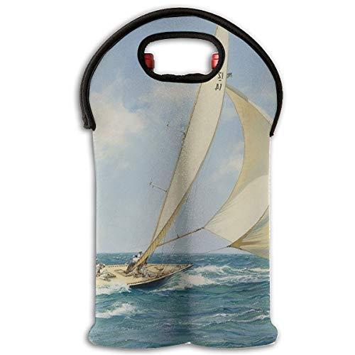 Sailboat Ship Landscape Artwork 2-Bottle Wine Carrier Tote Bag Traveling Wine/Water Bottle Handbag With Carry Handle Two Bottle Drinks Beer Holder