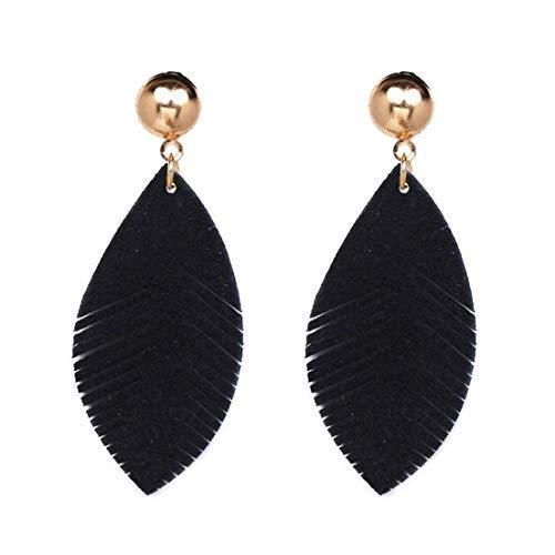 Bohemia Leaf Pu Leather Women's Stud Earrings Boho Water Ethnic Vintage Charms Eardrop (Black)