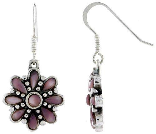 Teardrop Pink Pearl (Sterling Silver Round & Teardrop Pink Mother of Pearl Dangling Earrings, 3/4 inch long)